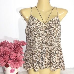 NWOT HOLLISTER ANIMAL PRINT STRAPPY PLEATED TOP